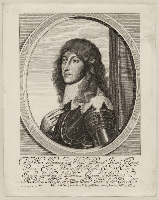 Prince Rupert, Count Palatine, by William Faithorne, published by  Sir Robert Peake, after  Sir Anthony van Dyck, early 1640s - NPG D26473 - © National Portrait Gallery, London
