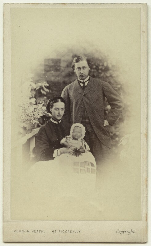 Queen Alexandra; Prince Albert Victor, Duke of Clarence and Avondale; King Edward VII, by Vernon Heath, 1864 - NPG x14700 - © National Portrait Gallery, London
