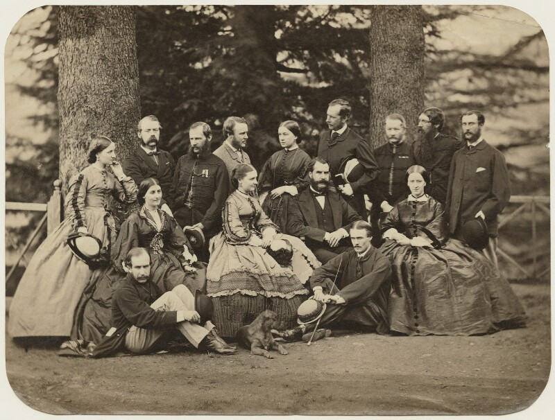 Group of officials and relatives, Simla, possibly by Bourne & Shepherd, 1860s - NPG x129636 - © National Portrait Gallery, London