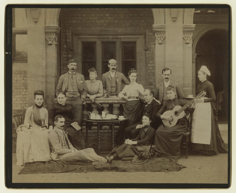 Katherine (née Batten), Lady Strachey and Sir John Strachey with their sons and daughters, by Hills & Saunders, 1890s - NPG x129643 - © National Portrait Gallery, London