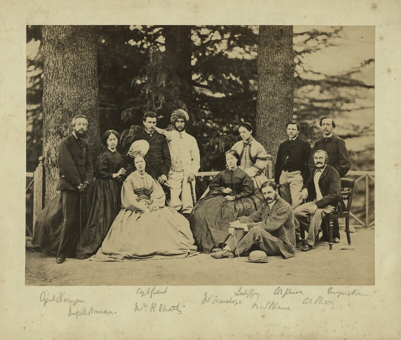 Group of officials and relatives, Simla, possibly by Bourne & Shepherd, 1860s - NPG x129646 - © National Portrait Gallery, London
