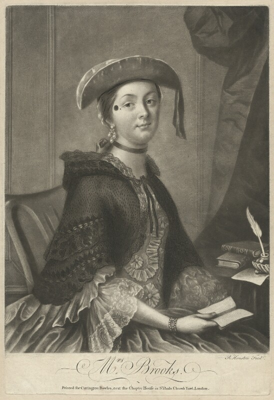 Mrs Brooks, by Richard Houston, printed for  Carington Bowles, after  Thomas Worlidge, mid 18th century - NPG D32190 - © National Portrait Gallery, London