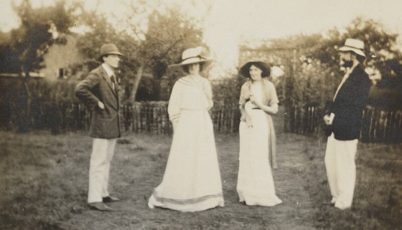 Lady Ottoline Morrell; Virginia Woolf; Lytton Strachey and an unknown man, by Unknown photographer, 1910 - NPG Ax13011 - © National Portrait Gallery, London