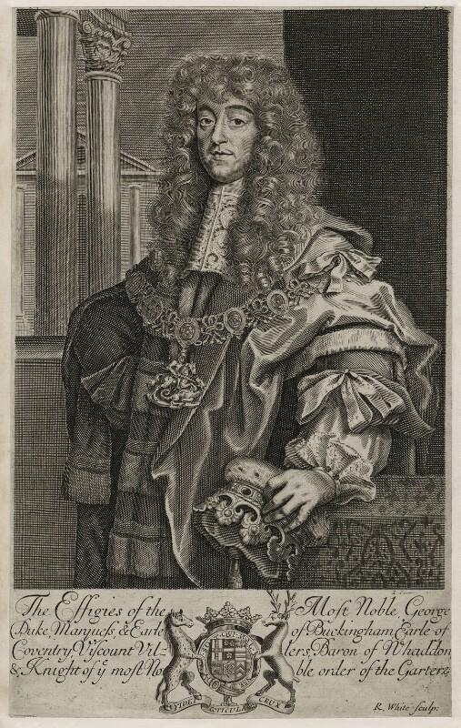 George Villiers, 2nd Duke of Buckingham, by Robert White, 1679 - NPG D26513 - © National Portrait Gallery, London