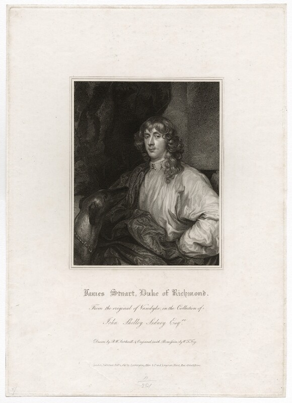 James Stuart, 1st Duke of Richmond and 4th Duke of Lennox, by William Thomas Fry, published by  Lackington, Allen & Co, published by  Longman, Hurst, Rees, Orme & Brown, after  Robert William Satchwell, after  Sir Anthony van Dyck, published 1 February 1816 - NPG D26542 - © National Portrait Gallery, London
