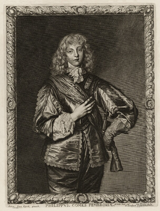 Philip Herbert, 5th Earl of Pembroke, by Pierre Lombart, after  Sir Anthony van Dyck, mid 17th century - NPG D26556 - © National Portrait Gallery, London