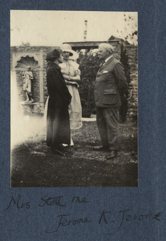 Marian Stoll; Julian Vinogradoff (née Morrell); Jerome Klapka Jerome, by Lady Ottoline Morrell, June 1923 - NPG Ax141971 - © National Portrait Gallery, London