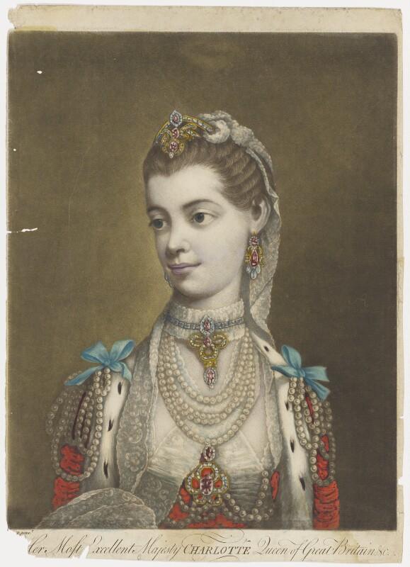 Sophia Charlotte of Mecklenburg-Strelitz, by Thomas Frye, published 1762 - NPG D9089 - © National Portrait Gallery, London