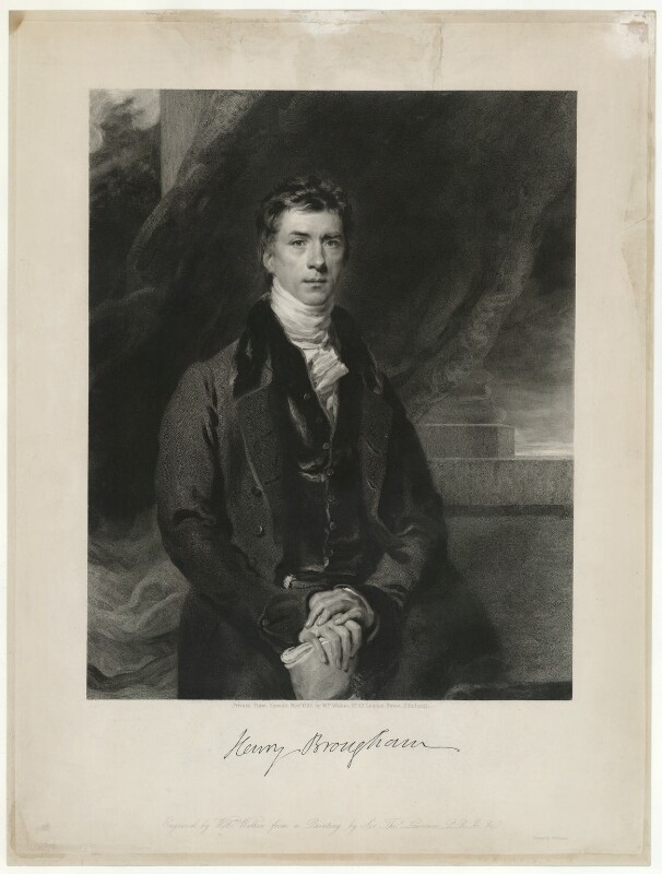 Henry Brougham, 1st Baron Brougham and Vaux, by William Walker, after  Sir Thomas Lawrence, published 1830 - NPG D32200 - © National Portrait Gallery, London