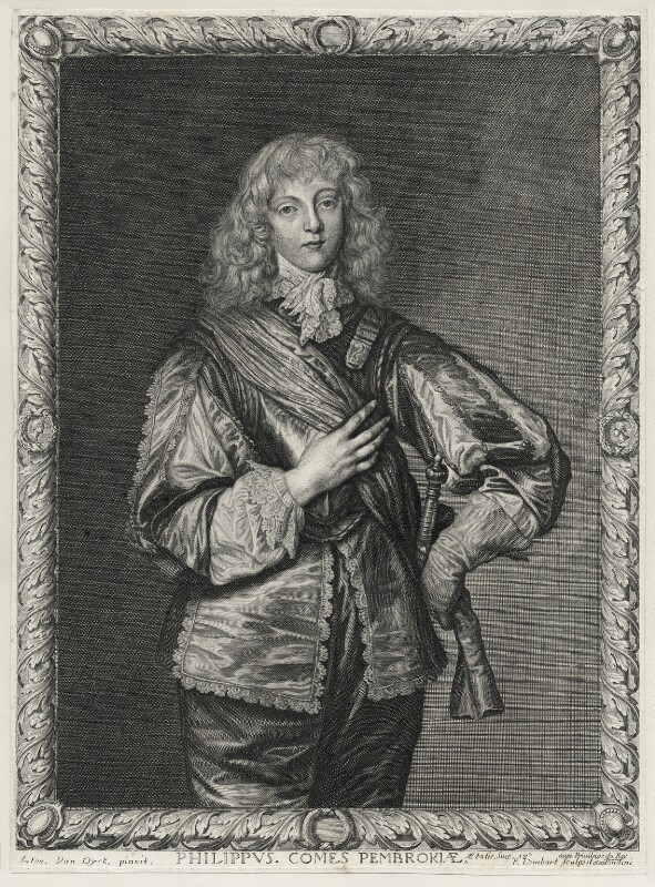 Philip Herbert, 5th Earl of Pembroke, by Pierre Lombart, after  Sir Anthony van Dyck, mid 17th century - NPG D26634 - © National Portrait Gallery, London