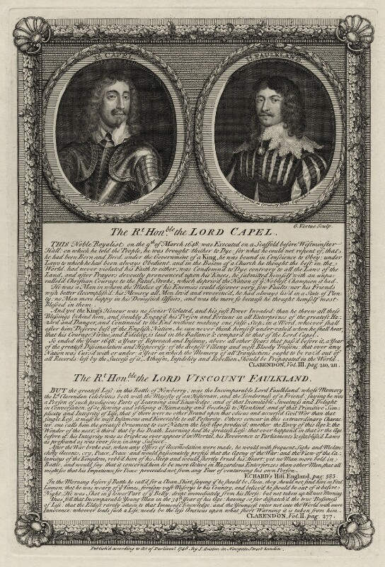 Arthur Capel, 1st Baron Capel and Lucius Cary, 2nd Viscount Falkland, by George Vertue, published 1746 - NPG D26672 - © National Portrait Gallery, London
