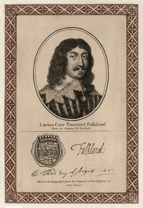 Lucius Cary, 2nd Viscount Falkland, after Sir Anthony van Dyck, published by  John Thane, early 19th century - NPG D26678 - © National Portrait Gallery, London