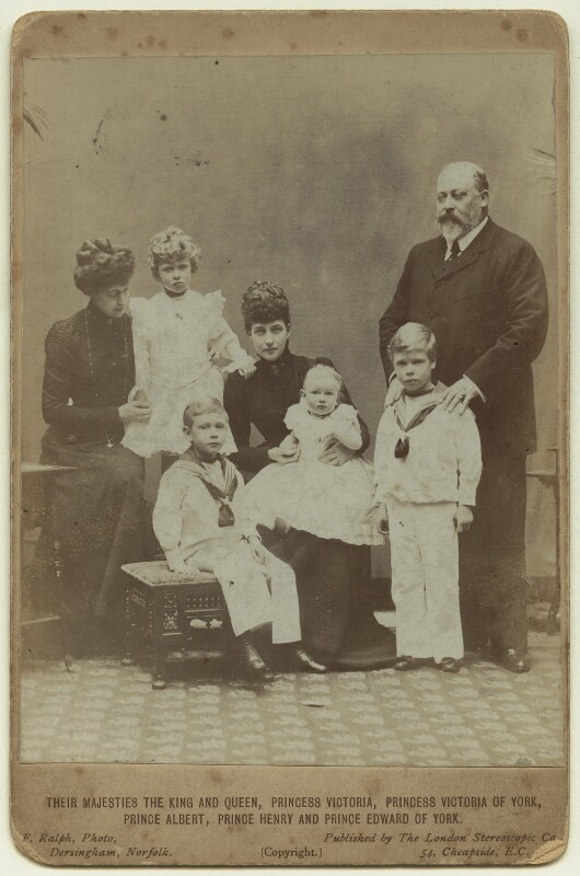 King Edward VII and Queen Alexandra with the children of King George V, by Frederick William Ralph, published by  London Stereoscopic & Photographic Company, 1901 - NPG x29773 - © National Portrait Gallery, London