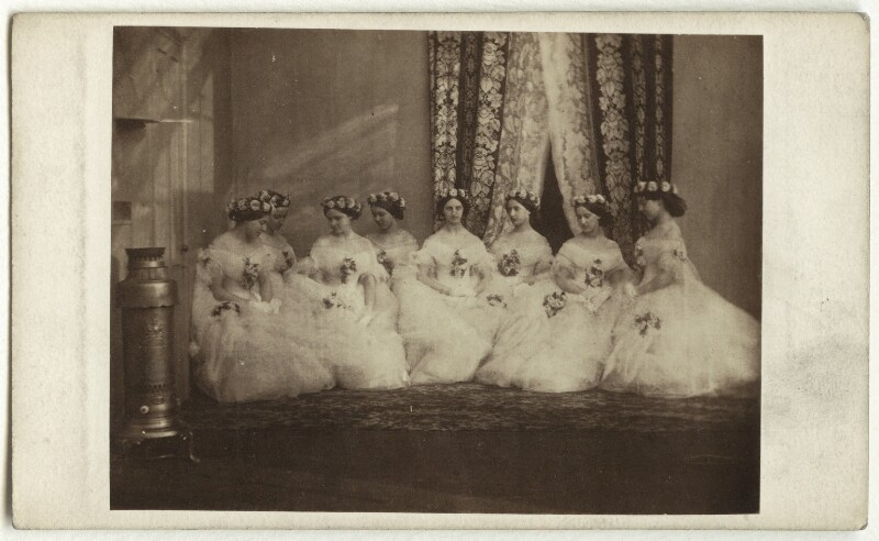The bridesmaids of Alexandra of Denmark, by Unknown photographer, March 1863 - NPG x33255 - © National Portrait Gallery, London