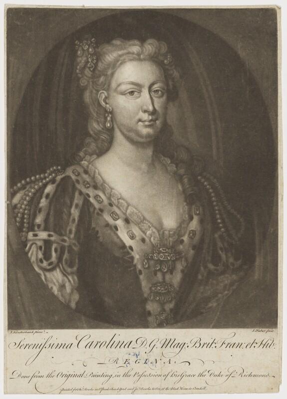 Caroline Wilhelmina of Brandenburg-Ansbach, by John Faber Jr, after  John Vanderbank, mid 18th century - NPG D9138 - © National Portrait Gallery, London