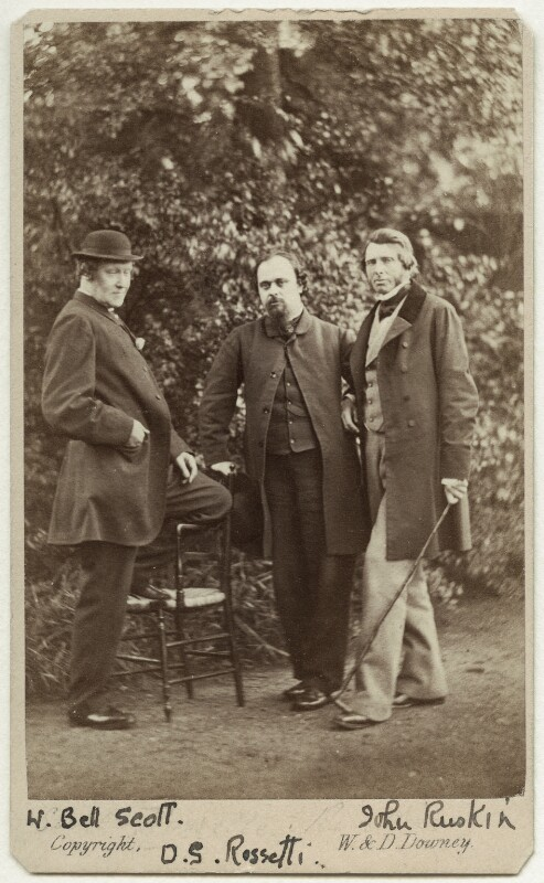 William Bell Scott; Dante Gabriel Rossetti; John Ruskin, by W. & D. Downey, 29 June 1863 - NPG Ax38133 - © National Portrait Gallery, London