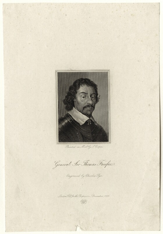 Thomas Fairfax, 3rd Lord Fairfax of Cameron, by Charles Pye, after  Samuel Cooper, published 1821 - NPG D27112 - © National Portrait Gallery, London