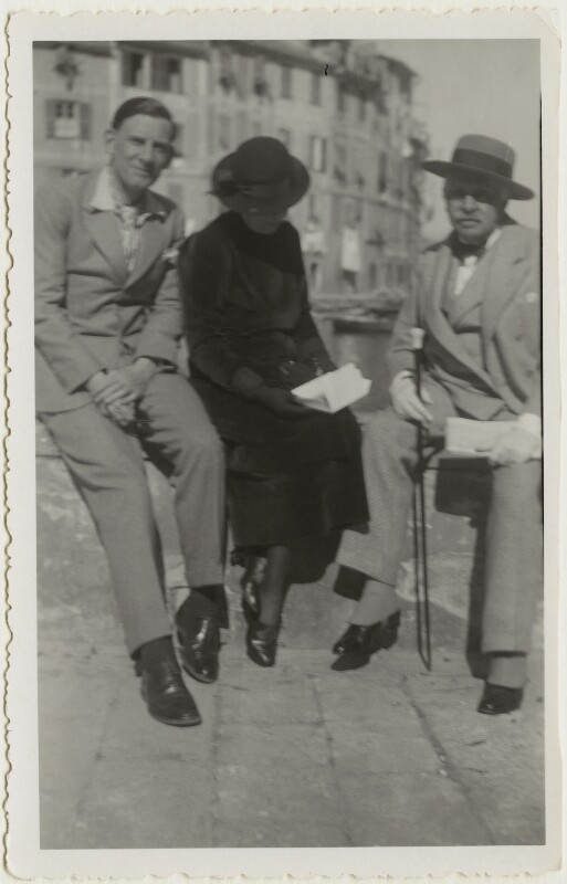 Siegfried Loraine Sassoon; Florence (née Kahn), Lady Beerbohm; Sir Max Beerbohm, by Unknown photographer, circa 1937 - NPG x46601 - © National Portrait Gallery, London