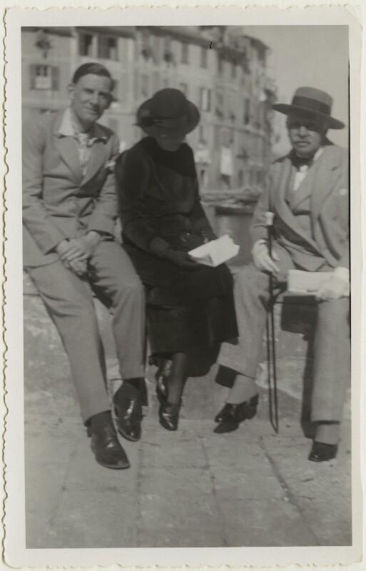 Siegfried Loraine Sassoon; Florence (née Kahn), Lady Beerbohm; Sir Max Beerbohm, by Unknown photographer, circa 1937 - NPG x46601 - © National Portrait Gallery, London