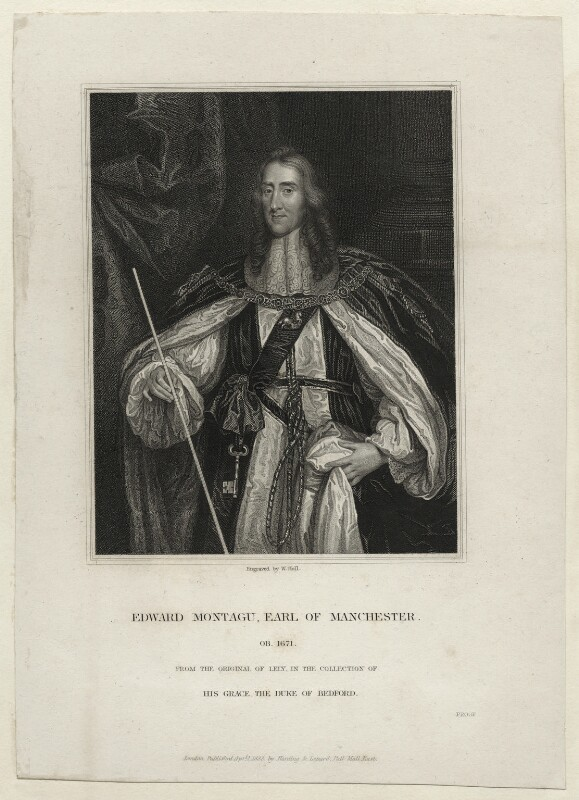 Edward Montagu, 2nd Earl of Manchester, by William Holl Sr, or by  William Holl Jr, published by  Harding & Lepard, after  Sir Peter Lely, published 1 April 1833 - NPG D27134 - © National Portrait Gallery, London