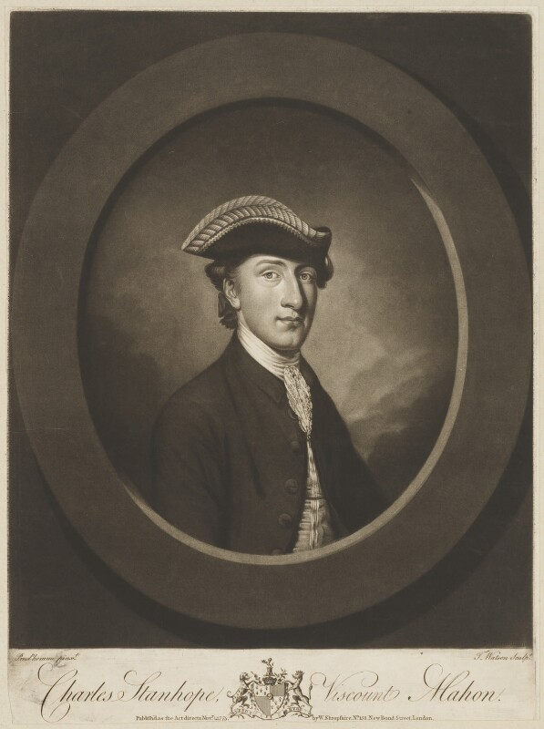 Charles Stanhope, 3rd Earl Stanhope, by Thomas Watson, published by  Walter Shropshire, after  Antoine Daniel Prud'homme, published 1 November 1775 - NPG D32257 - © National Portrait Gallery, London