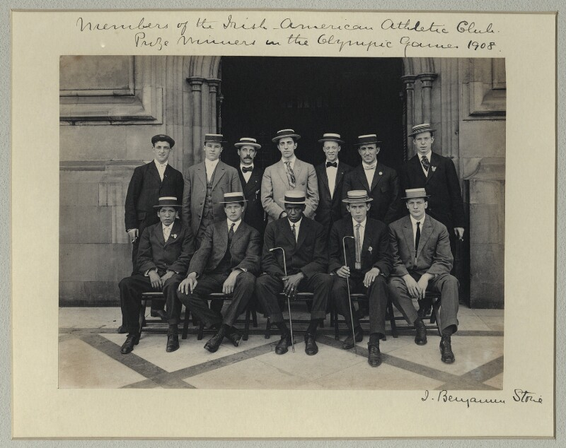 'Members of the Irish-American Athletic Club - Prize Winners in the Olympic Games, 1908', by Sir (John) Benjamin Stone, 29 July 1908 - NPG x33501 - © National Portrait Gallery, London