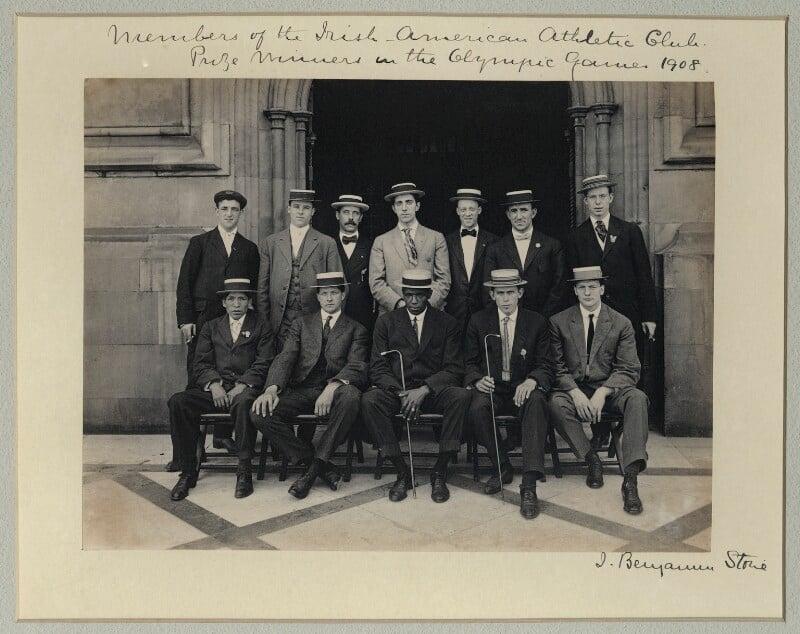 'Members of the Irish-American Athletic Club - Prize Winners in the Olympic Games, 1908', by Sir (John) Benjamin Stone, 29 July 1908 - NPG x33501 - © National Portrait Gallery, London