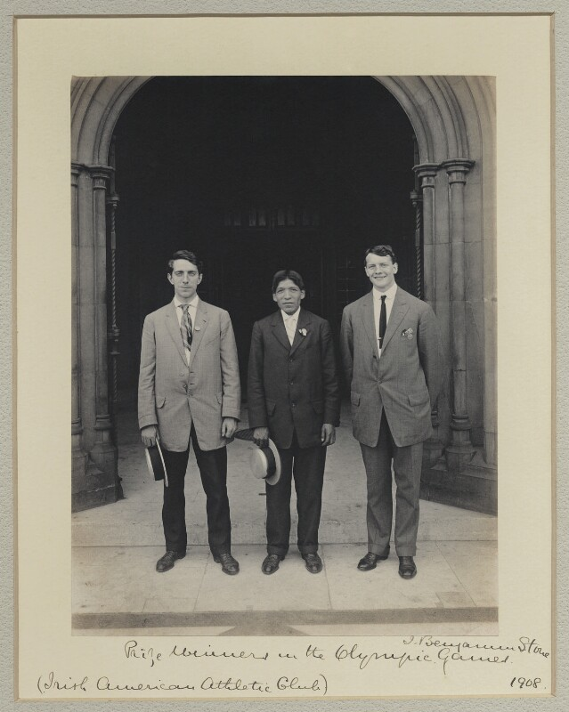 Prize Winners in the Olympic Games (Irish American Athletic Club)' (Jim Sullivan; Louis Tewanima; Robert Cloughen), by Benjamin Stone, 29 July 1908 - NPG x131229 - © National Portrait Gallery, London