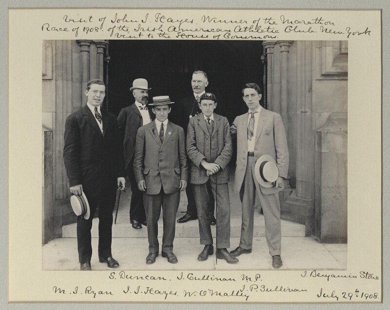 'Visit of John J. Hayes, Winner of the Marathon Race of 1908, of the Irish American Athletic Club, New York - Visit to the House of Commons', by Sir (John) Benjamin Stone, 29 July 1908 - NPG x131231 - © National Portrait Gallery, London