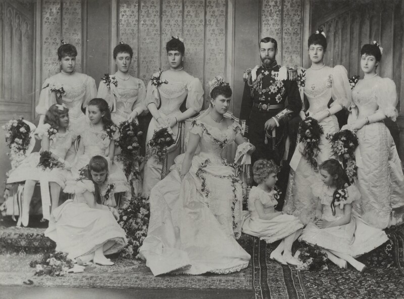 The Duke and Duchess of York with their bridesmaids, by Lafayette (Lafayette Ltd), 6 July 1893 - NPG Ax26482 - © National Portrait Gallery, London