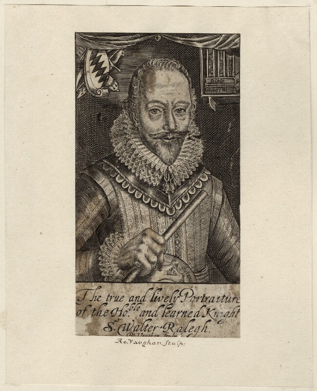 Sir Walter Ralegh (Raleigh), by Robert Vaughan, after  Simon de Passe, published 1650 (1617) - NPG D28000 - © National Portrait Gallery, London