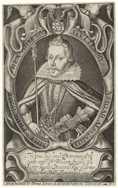 Sir William Segar, by Francis Delaram, sold by  Thomas Jenner, early 17th century - NPG D28031 - © National Portrait Gallery, London