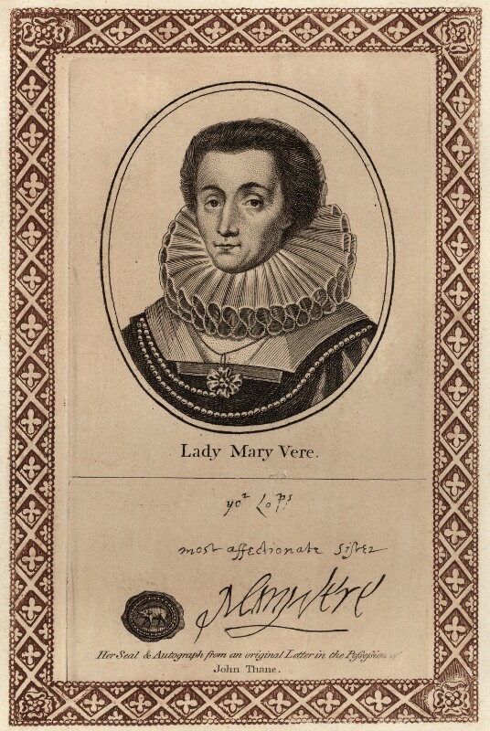 Mary Vere (née Tracy), Lady Vere, after Unknown artist, published by  John Thane, early 19th century - NPG D28116 - © National Portrait Gallery, London