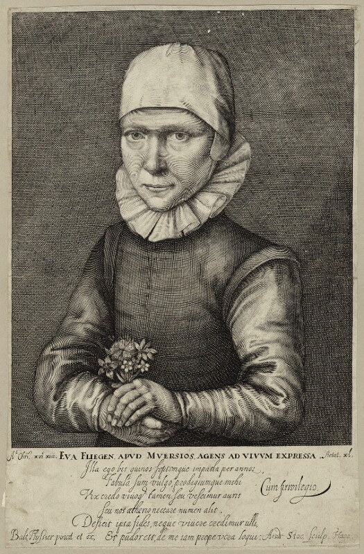 Eva Fligen, by Andries Jacobsz. Stock, early to mid 17th century - NPG D28161 - © National Portrait Gallery, London
