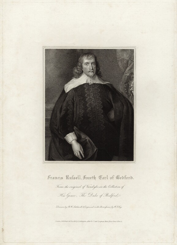 Francis Russell, 4th Earl of Bedford, by William Thomas Fry, after  Robert William Satchwell, after  Sir Anthony van Dyck, published 1816 - NPG D28199 - © National Portrait Gallery, London