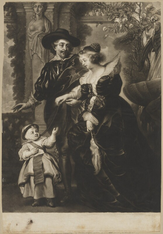 Sir Peter Paul Rubens and family, by James Macardell, after  Sir Peter Paul Rubens, mid 18th century - NPG D28247 - © National Portrait Gallery, London
