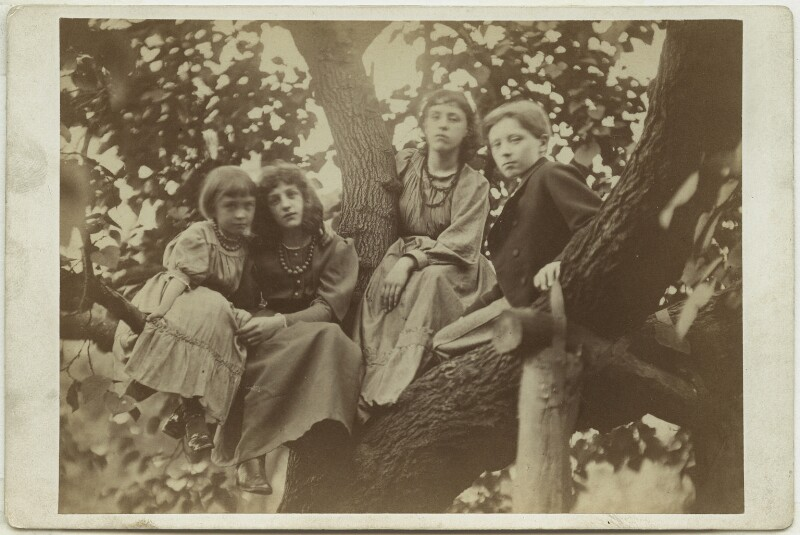 Margaret Mackail (née Burne-Jones); May Morris; Jane Alice ('Jenny') Morris; Sir Philip Burne-Jones, 2nd Bt, by Frederick Hollyer, 1874 - NPG x19860 - © National Portrait Gallery, London