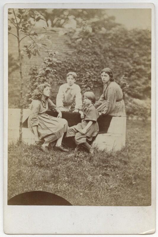 May Morris; Sir Philip Burne-Jones, 2nd Bt; Margaret Mackail (née Burne-Jones); Jane Alice ('Jenny') Morris, by Frederick Hollyer, 1874 - NPG x19865 - © National Portrait Gallery, London