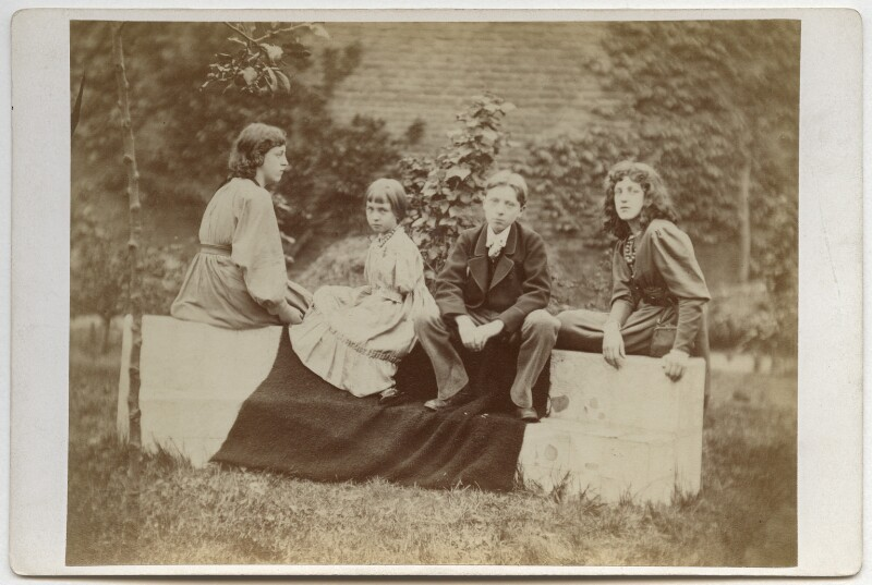 Jane Alice ('Jenny') Morris; Margaret Mackail (née Burne-Jones); Sir Philip Burne-Jones, 2nd Bt; May Morris, by Frederick Hollyer, 1874 - NPG x19867 - © National Portrait Gallery, London