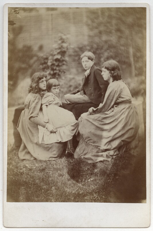 May Morris; Margaret Mackail (née Burne-Jones); Sir Philip Burne-Jones, 2nd Bt; Jane Alice ('Jenny') Morris, by Frederick Hollyer, 1874 - NPG x19868 - © National Portrait Gallery, London