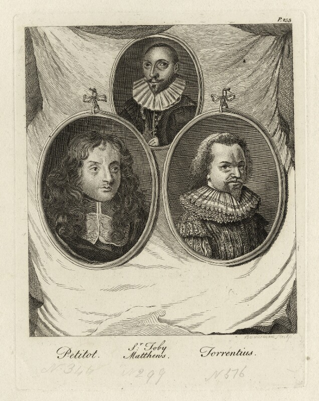 Jean Petitot, Sir Toby (Tobie) Matthew, Jan Simonsz. Torrentius (called Van der Beeck), by Alexander Bannerman, mid 18th century - NPG D28330 - © National Portrait Gallery, London