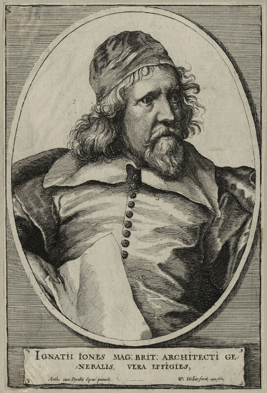 Inigo Jones, by Wenceslaus Hollar, after  Sir Anthony van Dyck, 1655 - NPG D28335 - © National Portrait Gallery, London