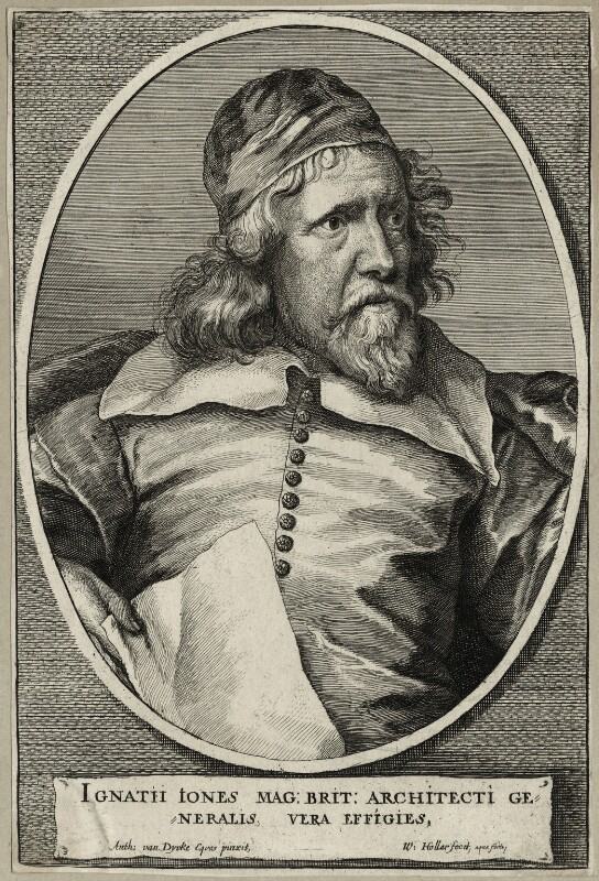 Inigo Jones, by Wenceslaus Hollar, after  Sir Anthony van Dyck, 1655 - NPG D28336 - © National Portrait Gallery, London