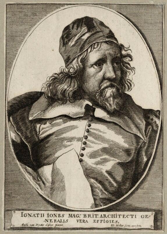 Inigo Jones, by Wenceslaus Hollar, after  Sir Anthony van Dyck, mid 17th century - NPG D28343 - © National Portrait Gallery, London