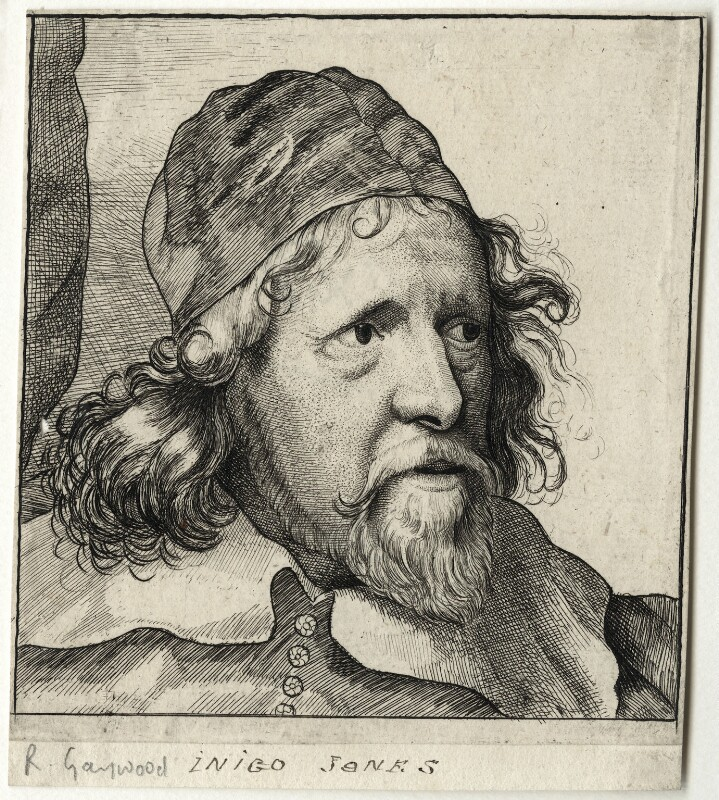 Inigo Jones, by Richard Gaywood, after  Sir Anthony van Dyck, mid 17th century (circa 1632-1635) - NPG D28344 - © National Portrait Gallery, London