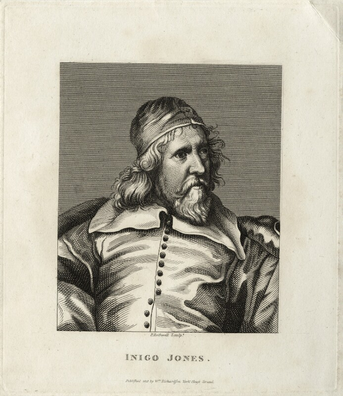 Inigo Jones, by P. Rothwell, published by  William Richardson, after  Sir Anthony van Dyck, published 1812 (circa 1632-1635) - NPG D28346 - © National Portrait Gallery, London