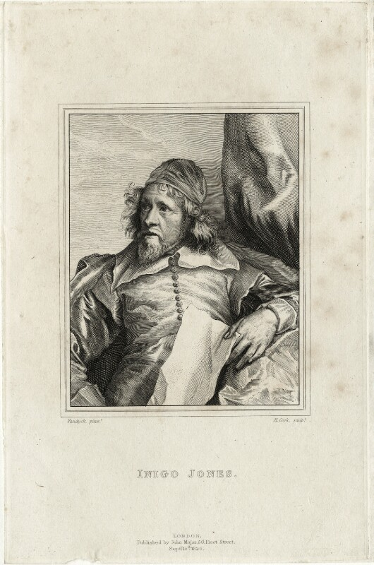 Inigo Jones, by Henry Richard Cook, published by  John Major, after  Sir Anthony van Dyck, published 15 September 1826 (circa 1632-1635) - NPG D28347 - © National Portrait Gallery, London