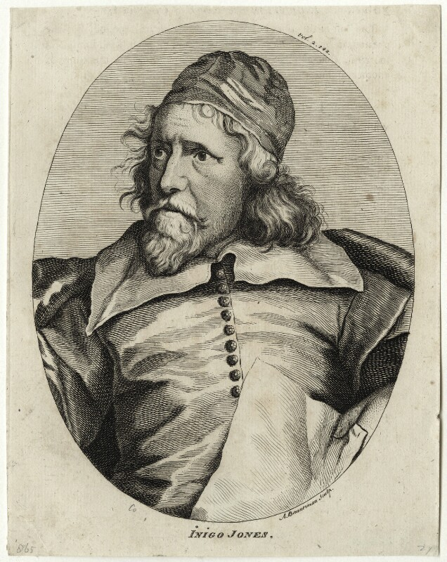 Inigo Jones, by Alexander Bannerman, after  Sir Anthony van Dyck, published 1762 (circa 1632-1635) - NPG D28348 - © National Portrait Gallery, London