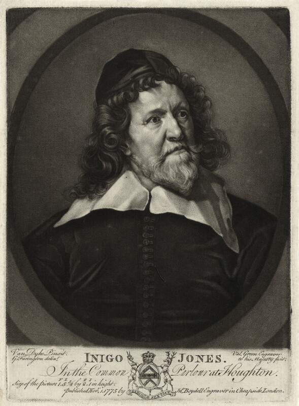 Inigo Jones, by Valentine Green, published by  John Boydell, after  Sir Anthony van Dyck, published 1 November 1775 (circa 1632-1635) - NPG D28349 - © National Portrait Gallery, London