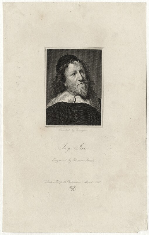 Inigo Jones, by Edward A. Smith, after  Sir Anthony van Dyck, published March 1821 (circa 1632-1635) - NPG D28350 - © National Portrait Gallery, London
